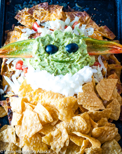Baby Yoda Party Food Nachos from Little House Big Alaska