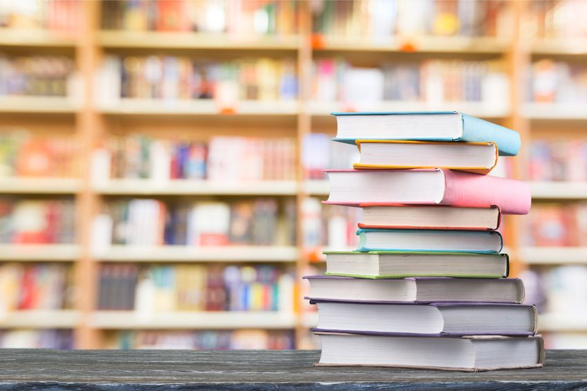 Stack of books in library