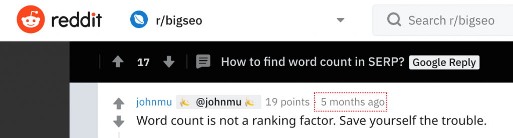 Quote from John Mueller on Google SEO Word Count