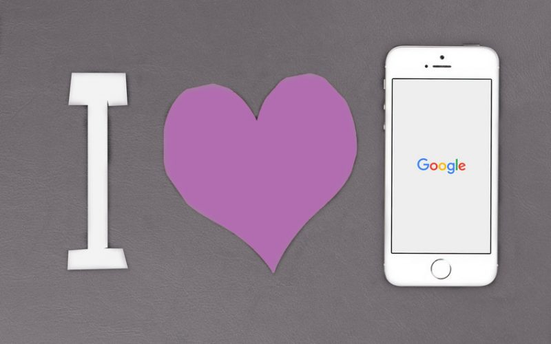 letter I with heart and iphone showing Google